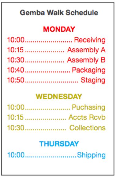 Example of a gemba walk schedule