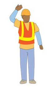 Construction workers, safety vest, hand signals