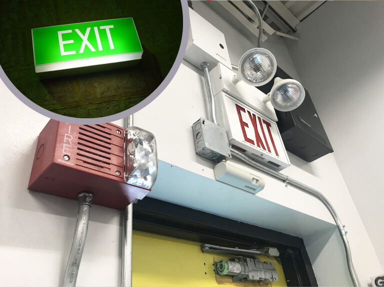 exit door with illuminated sign