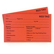 5S Adhesive Red Tags
