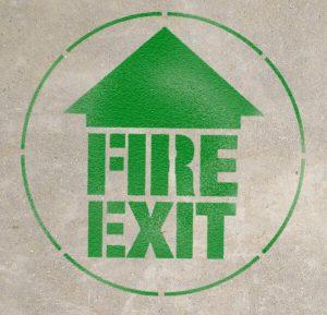 emergency exit, floor sign