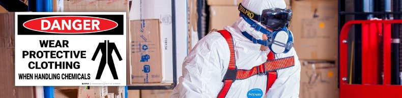 Danger Wear Protective Clothing When Handling Chemicals