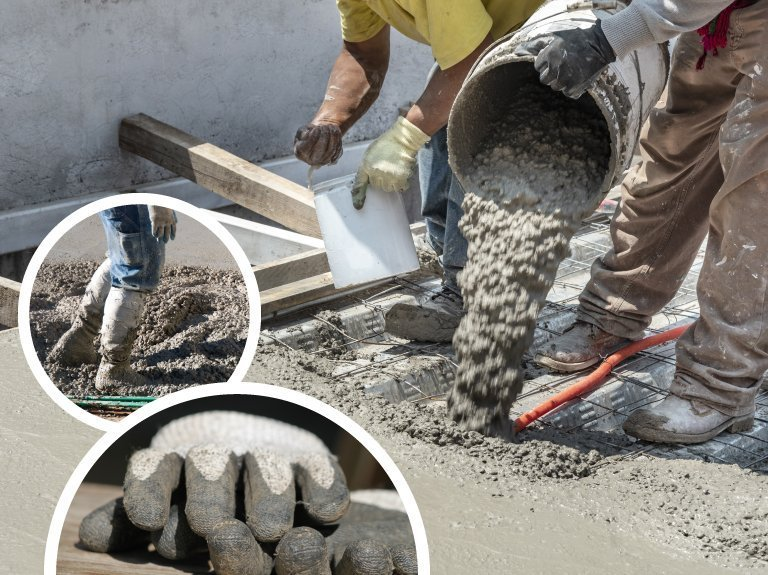 hand protection and foot protection from cement